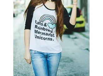 blouse black and white blouse rainbow mermaids unicorns cats