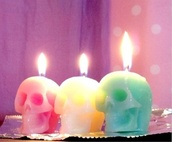 home accessory,candle,skull,pastel,cute,halloween decor