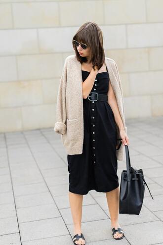 cardigan tumblr nude cardigan dress black dress midi dress button up sandals slide shoes shoes bag black bag sunglasses belt