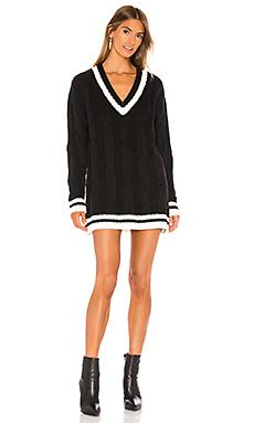 superdown Shawnie Varsity Sweater Dress in Black & White from Revolve.com