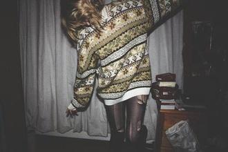 sweater vintage sweater aztec boho geometric pattern baggy bohemian sweater