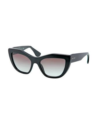 Miu Miu Angled Cat-Eye Sunglasses, Black