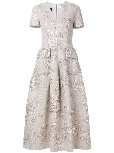 Talbot Runhof dress women jacquard nude silk