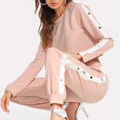 jumpsuit,girly,pink,button up,two-piece,matching set,tear away pants,tear away,sweater,sweatshirt,joggers