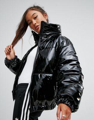 ASOS High Shine Patent Puffer Jacket at asos.com