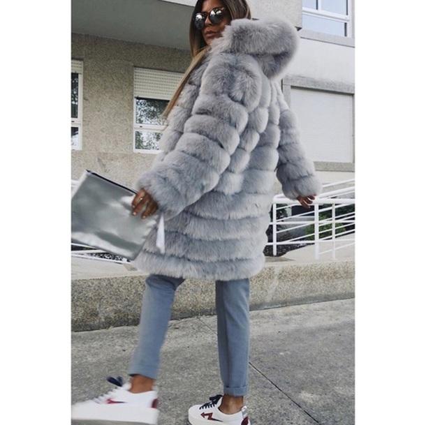coat faux fur faux fur jacket women faux fur coat hooded coat winter hooded coat grey faux fur jacket long faux fur jacket