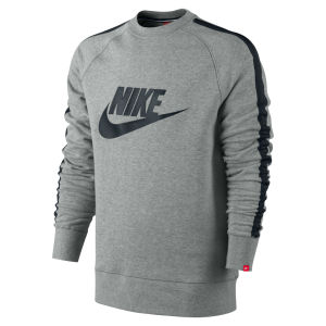 Nike Men's AW 77 Tape Logo Crew Neck Sweater - Grey 					Mens Clothing | TheHut.com