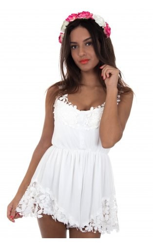 Persuasion limited edition crochet playsuit in white