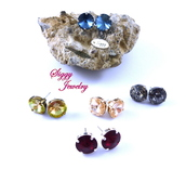 jewels,siggy jewelry,swarovski,earrings,studs,sparkle,bling,post earrings,colorful,red,jewelry,etsy,made to order,shopping,beautiful,style,wedding jewelry