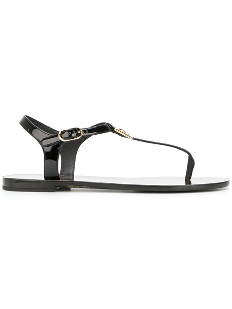 Dolce & Gabbana women sandals flat sandals leather black shoes
