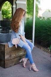 coat,tumblr,kimono,top,denim,jeans,blue jeans,skinny jeans,sandals,sandal heels,high heel sandals,bag,nude bag,shoes