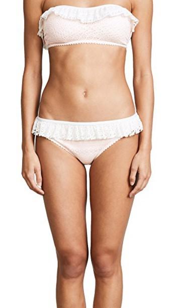 Kate Spade New York bikini bikini bottoms ruffle cream swimwear