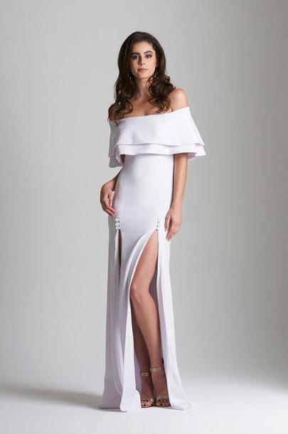 912f3336003f dress evevardar semi formal dress slit dress off the shoulder white off the  sholderr off-
