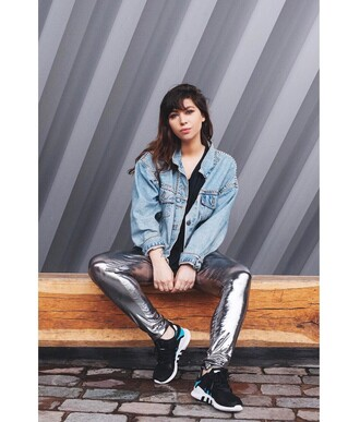 pants french girl silver metallic sneakers black sneakers jacket blue jacket denim jacket denim
