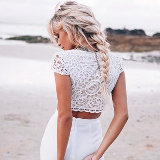 top shirt white crochet crop tops short sleeve