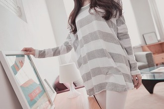 top stripes grey and white cute girl kfashion fashion grey white long sleeves grey and white stripes grey and white stripped korean fashion stripped top