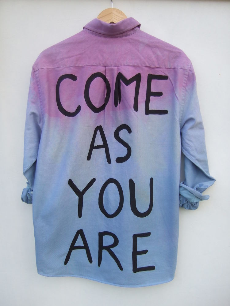 Dip Tie Dye Ombre Nirvana Come As You Are Studded Shirt Dress