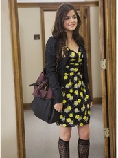 bag,lucy hale,handbag,aria montgomery,boots,hairstyles,leather jacket,leather,hair accessory,cardigan,dress