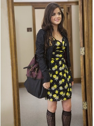 bag lucy hale handbag aria montgomery boots hairstyles leather jacket leather hair accessory cardigan dress