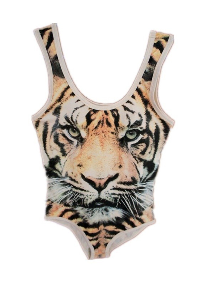 Tiger Print Leopard Elastic Bodysuit  on Luulla