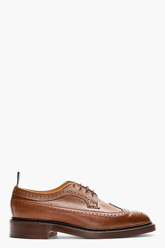 brogues leather shoes brown menswear casual shoes longwing
