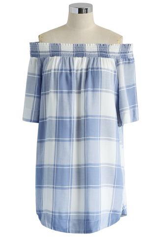 dress check off the shoulder tunic blue