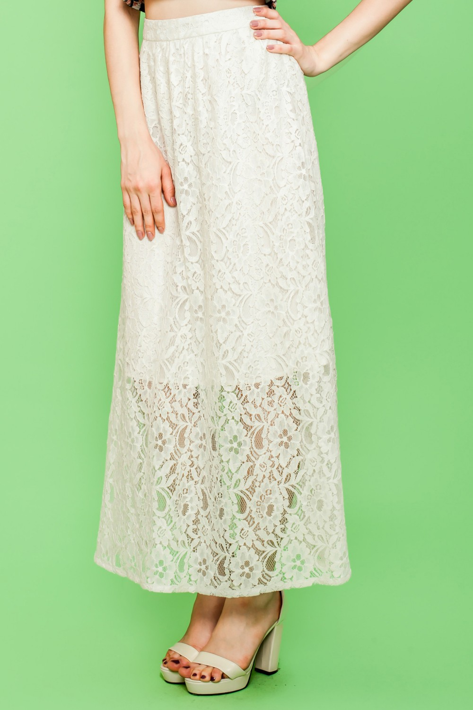 Jenobia ivory lace maxi skirt