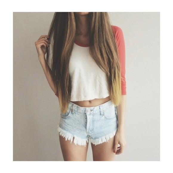 top dip dyed t-shirt brandy melville plain tshirt red and white baseball top long hair dip dyed hair white
