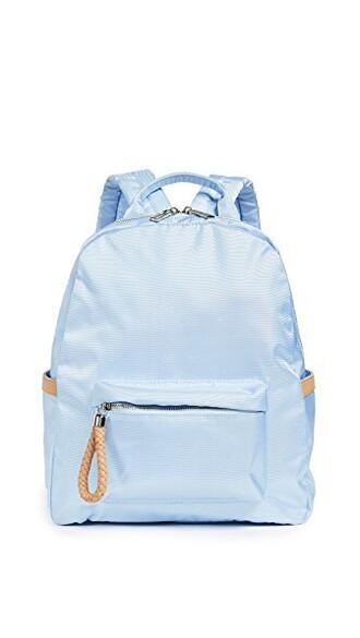 backpack tan blue sky blue bag