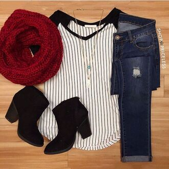 top black white scarf booties cute winter outfits navy red scarf black booties necklace stripes jeans skinny jeans