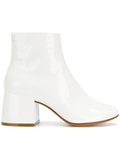 Mm6 Maison Margiela heel women heel boots leather white shoes
