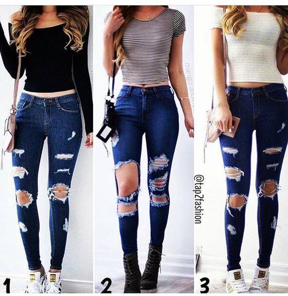 Dark blue high waisted ripped skinny jeans