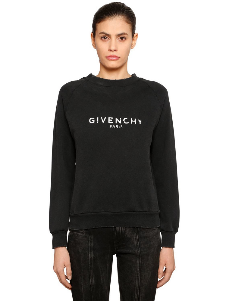 GIVENCHY Vintage Logo Cotton Jersey Sweatshirt in black