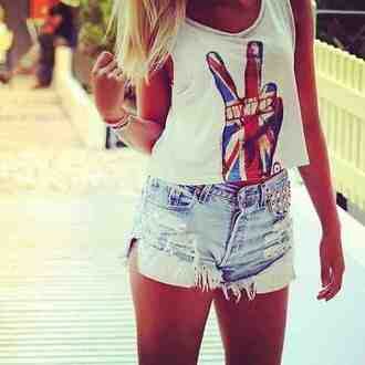 shirt tank top peace sign open front white tank top english flag shorts british flag british peace sign peace tank top