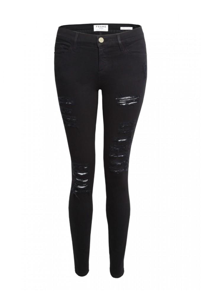 Frame Denim Le Color Ripped Skinny Jeans - Black