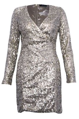 New rare at topshop silver sequin wrap dress