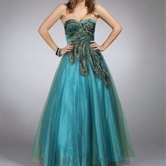dress prom dress fancy embroidered peacock