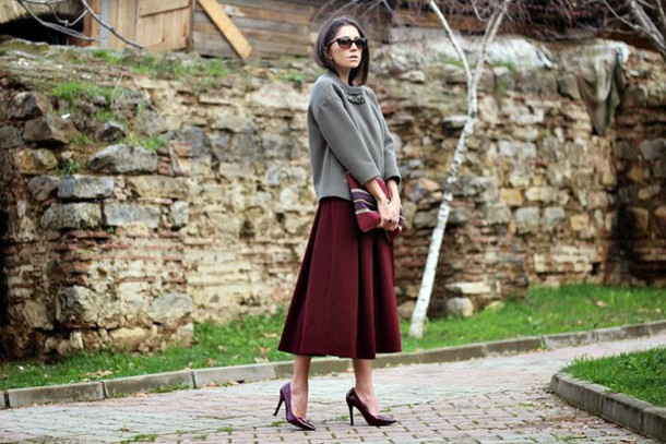 rana demir blogger midi skirt burgundy skirt grey sweater pointed toe pouch skirt jacket bag shoes sunglasses
