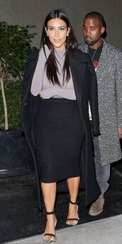 sandals,pencil skirt,turtleneck,kim kardashian,bodysuit,coat,shoes,top,skirt