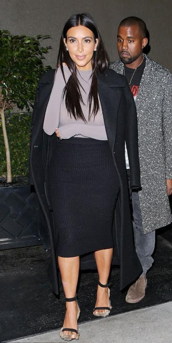sandals pencil skirt turtleneck kim kardashian bodysuit coat shoes top skirt
