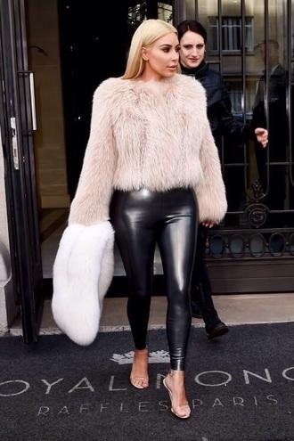 kim kardashian leather leggings fuzzy sweater