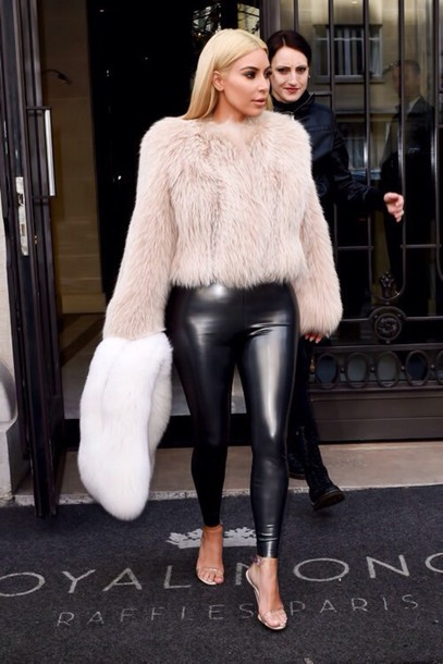 kim kardashian leather leggings fuzzy sweater