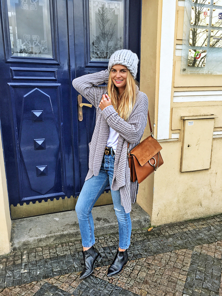 hat tumblr beanie grey beanie knitted beanie cardigan grey cardigan denim jeans blue jeans boots black boots ankle boots bag