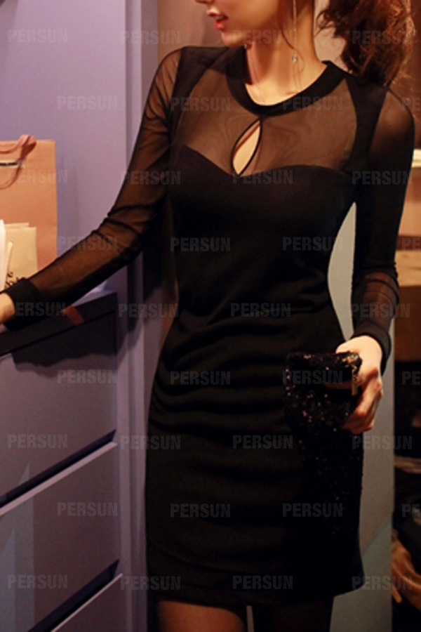 Sexy Gauze Dress with Front Cut Out in Black [FXBI00508] - PersunMall.com