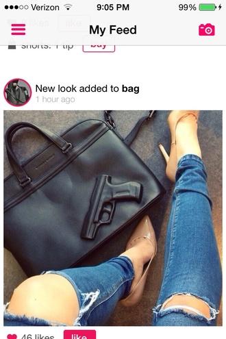 bag jeans blue ripped hole skinny black bag gun
