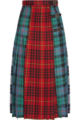 skirt midi skirt pleated midi wool tartan red