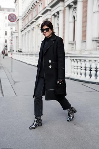 shoes tumblr boots sequins sequin boots silver boots denim jeans coat black coat sunglasses