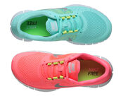 shoes,workout,run,running,pink,blue,green,nike,nike free run,girl,fashion,diet,gym,sneakers,trainers,neon,nike neon pink,nike mint green