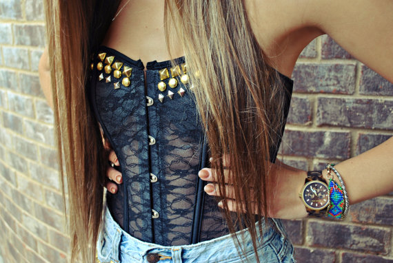 Wildhearts hand studded black lace bustier by wildheartsapparel