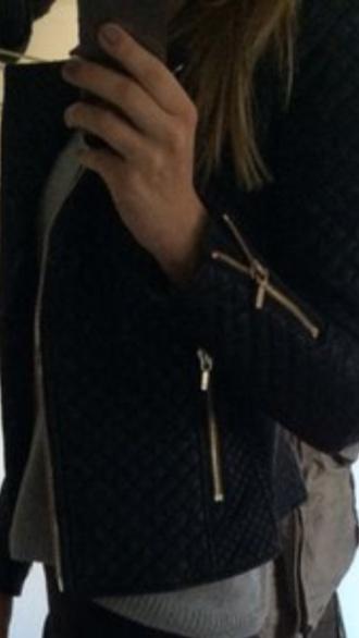 jacket leather jacket black jacket quilted zip zara like